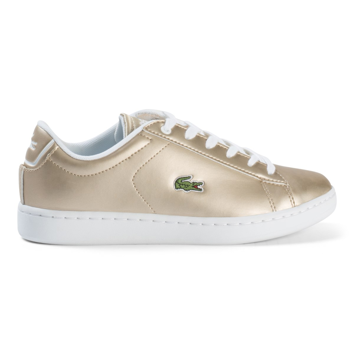 Lacoste Gold And White Carnaby Evo Junior Trainers