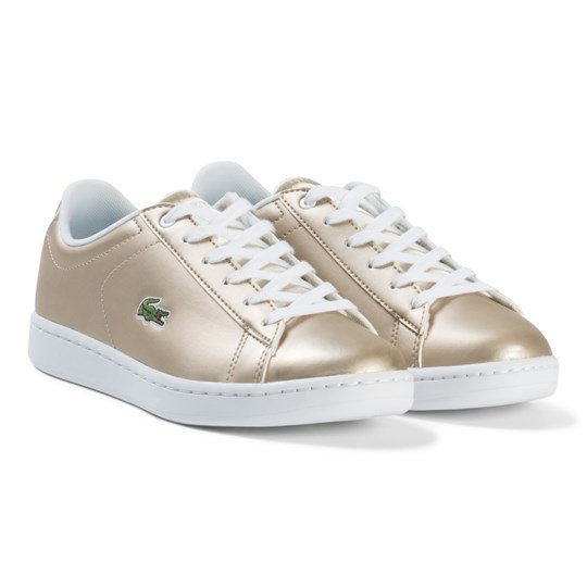 Lacoste Gold and White Carnaby Evo Junior Trainers Gold/White