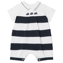 Emile et Rose Navy Boat Embroidered Romper Marinblå
