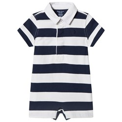 Ralph Lauren Navy and White Striped Cotton Rugby Shortall