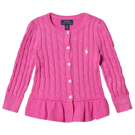Ralph Lauren Cable Cotton Peplum Cardigan Hammond Pink 002