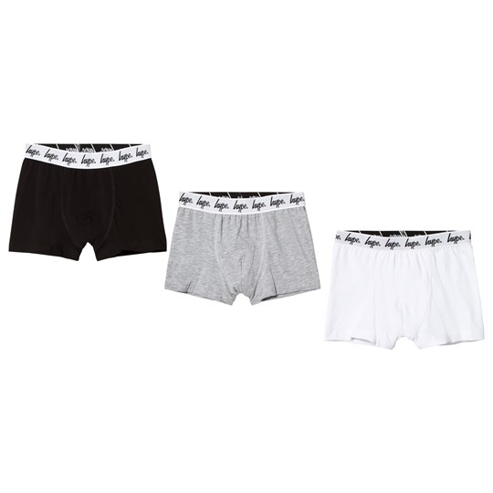Hype Pack of 3 White, Grey and Black Boxers MONOTONE