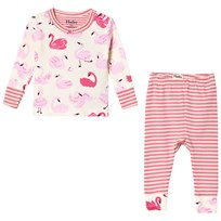 Hatley Cream Pink Dancing Swans Mini Pyjama Set Cream
