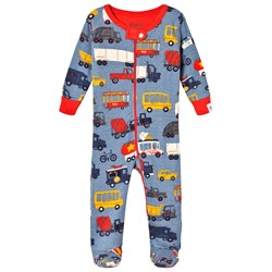 Hatley Blue Rush Hour Footed Baby Body
