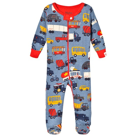 Hatley Blue Rush Hour Footed Baby Body Blue