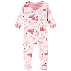 Hatley Cream Pink Dancing Swans Footed Baby Body