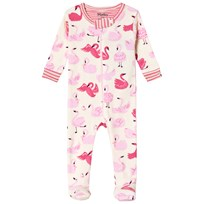 Hatley Cream Pink Dancing Swans Footed Baby Body Cream