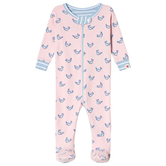 Hatley Pink Fluttering Birds Footed Baby Body Pink