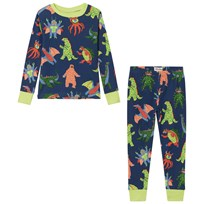 Hatley Mega Monster Cotton Pajama Set Navy