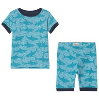 Hatley Shark Alley Short Pyjamas Set Blå Blue