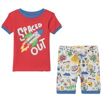 Hatley Dinos and Aliens Doodle Short Pajama Set Punainen