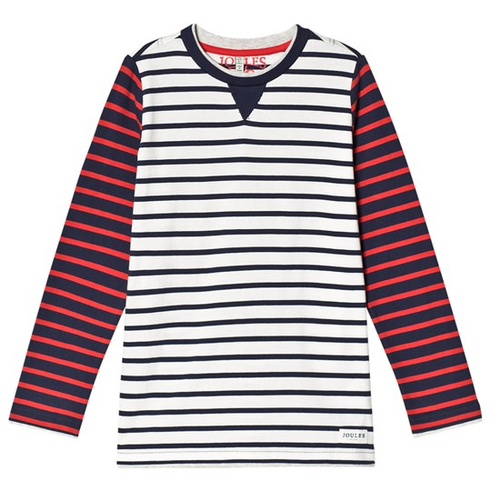 Tom Joule Cream, Navy and Red Stripe Long Sleeve Jersey Tee Creme Stripe