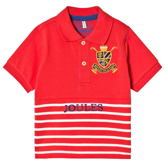 Tom Joule Red Stripe Pique Branded Polo Top MELON RED