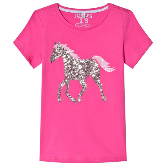 Tom Joule Sequin Horse Jersey T-shirt Rosa BRIGHT PINK HORSE