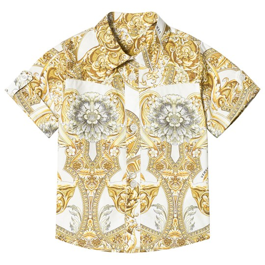 Versace White Baroque Print Infants Shirt Y3791