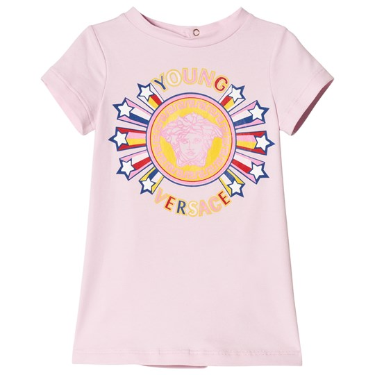 Versace Pink Medusa Star Print Infants Dress Pink