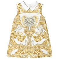 Young Versace White and Gold Baroque Print Collar Infants Dress Y4006
