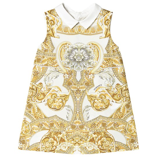 Versace White and Gold Baroque Print Collar Infants Dress Y4006