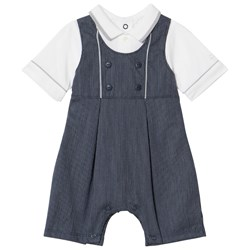 Emile et Rose Navy and White Mock Dungaree Romper