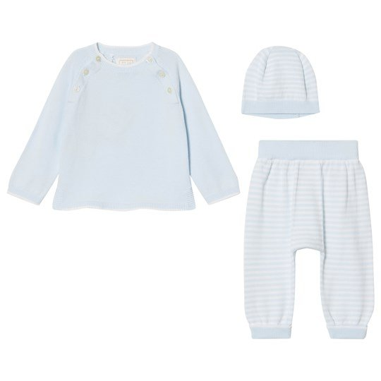 Emile et Rose Marvin Blue Striped Knit Set Pale Blue