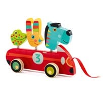 Djeco Zebra & Co Pull-Along Car Red