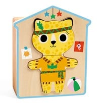 Djeco Dress-Up Mix Wooden Puzzle Beige