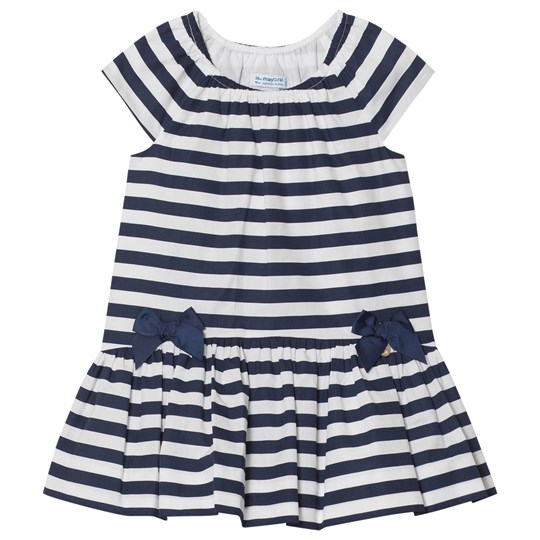 Mayoral Navy Stripe Poplin Dress with Bows 78