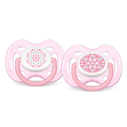 Philips Avent Freeflow Soother 0-6M 2 Pack Pink Multi