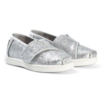 Toms Silver Iridescent Glitter Tiny TOMS Classics SILVER IRRIDESCENT GLITTER