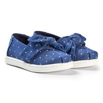 Toms Imperial Blue Chambray Bow Tiny TOMS Classics IMPERIAL BLUE DOT