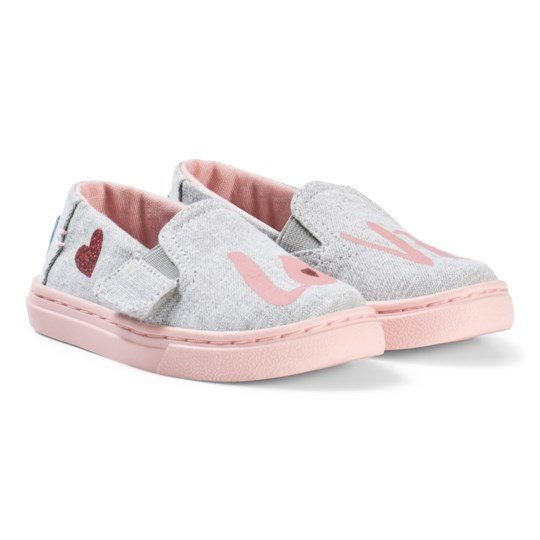18c96197 Toms - Drizzle Grey Love Tiny Toms Luca Slip Ons - Babyshop.com