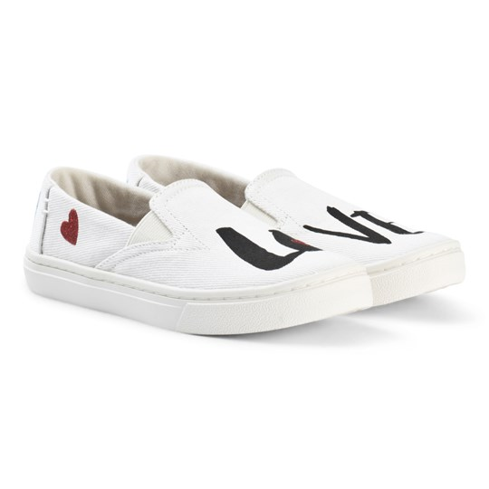Toms White Love Tiny Toms Luca Slip Ons WHITE DENIM Love
