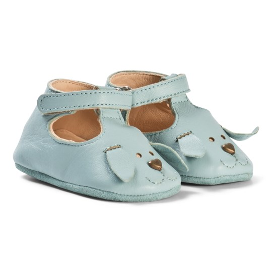 Easy Peasy Soft Blue Dog Loulou Velcro T Bar Crib Shoes 73