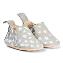 Easy Peasy Grey and White Star Print Blumoo Leather Crib Shoes 281
