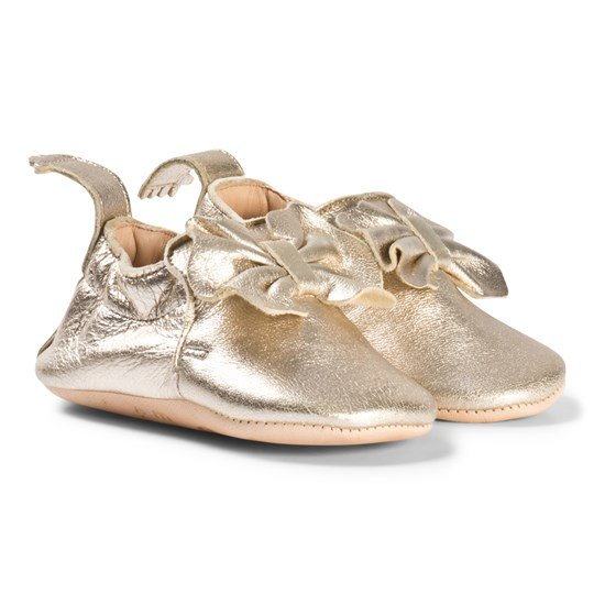Easy Peasy Gold Metallic Bow Blumoo Leather Crib Shoes 347