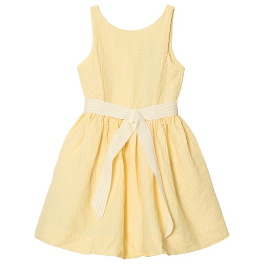 Ralph Lauren Yellow Pintuck Dress with Ribbon Tie 001