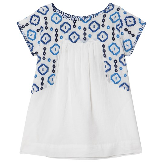 Velveteen White and Blue Embroidered Detail Sofia Dress WCC