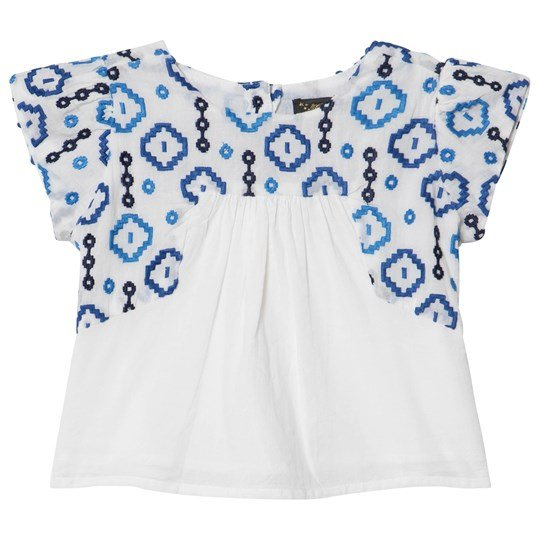 Velveteen White and Blue Embroidered Detail Sophie Top WCV