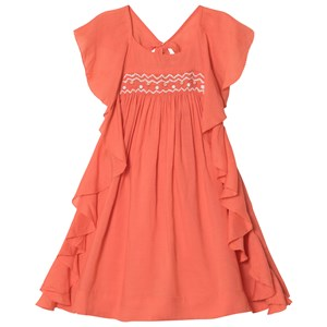 Image of Velveteen Coral Amber Smocked Dress with Frill Sleeve 2 years (2931855767)