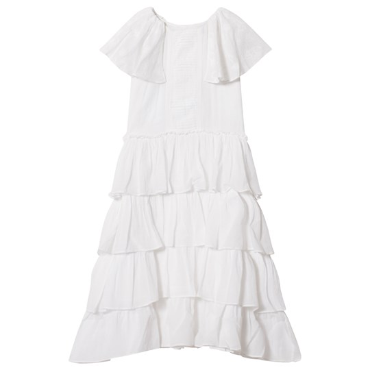 Velveteen White Tiered and Embroidered Josephine Dress WCV