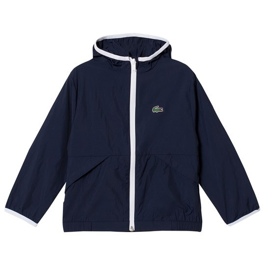 Lacoste Hooded Lightweight Jacka Marinblå Navy Blue/White