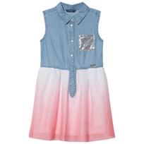 Guess Blue Chambray and Pink Skirt Dress LGTB