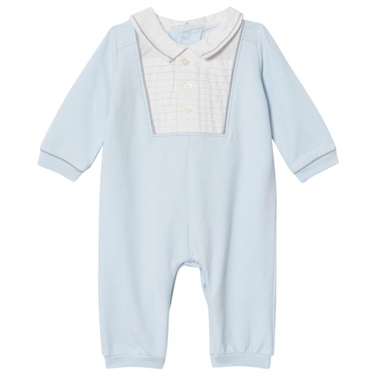 Emile et Rose Pale Blue and White Pintuck Front Collared One-Piece Pale Blue