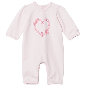 Image of Emile et Rose Pink Flower and Butterfly Heart Embroidered One-Piece 12 months (2931858745)
