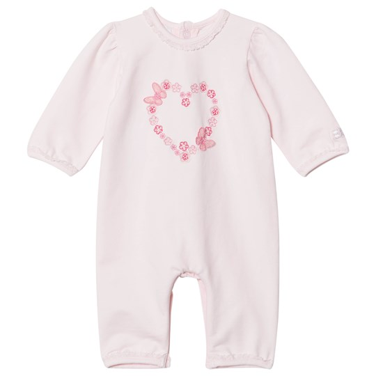 Emile et Rose Pink Flower and Butterfly Heart Embroidered One-Piece Pink