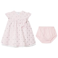 Emile et Rose Pink Embroidered Spot Jersey Dress with Bow