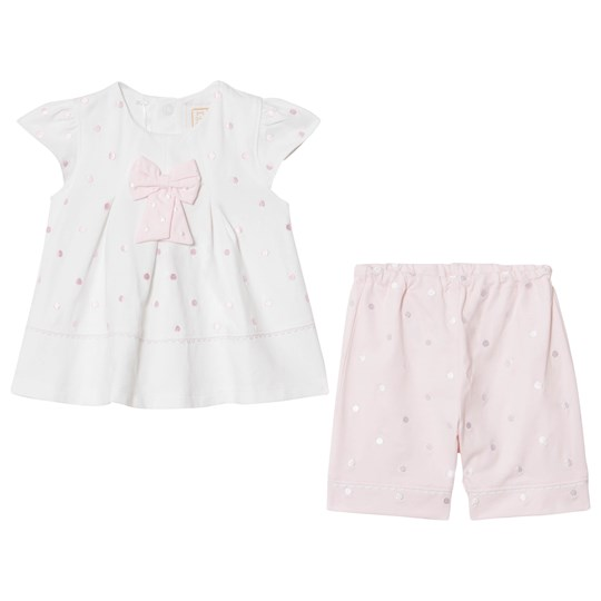 Emile et Rose Pink and White Spot and Bow Top and Leggings Set White