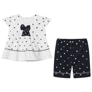 Image of Emile et Rose White and Navy Spot Bow Blouse and Trousers Set 12 months (2931859231)