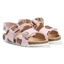 Moschino Kid-Teen Bear and Gold Logo Läder Sandaler Rosa 9102