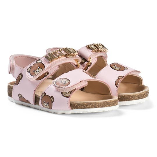 Moschino Kid-Teen Pink Bear and Gold Logo Leather Sandals 9102